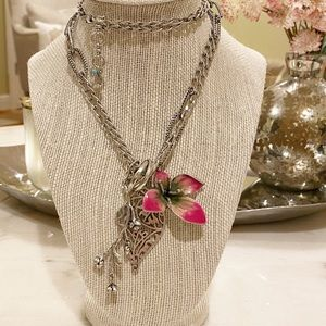 Lucky brand long flower pendant necklace